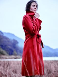 JESSIE杰西女装红色长款收腰大衣