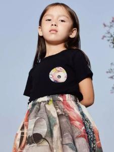 江南布衣童装2017春夏新品黑色T恤