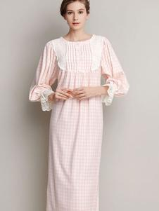 CABRIDA 嘉德丽亚条格印花棉绒连体女式长袖睡裙
