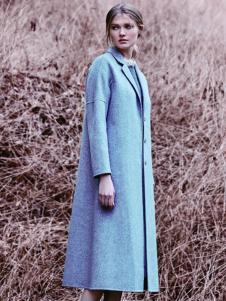 JESSIE杰西女装灰色长款直筒大衣