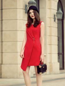 简约风情女装红色收腰连衣裙
