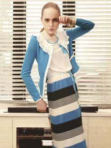 薇妮兰天蓝色圆领短外套