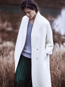 JESSIE杰西女装白色无领大衣
