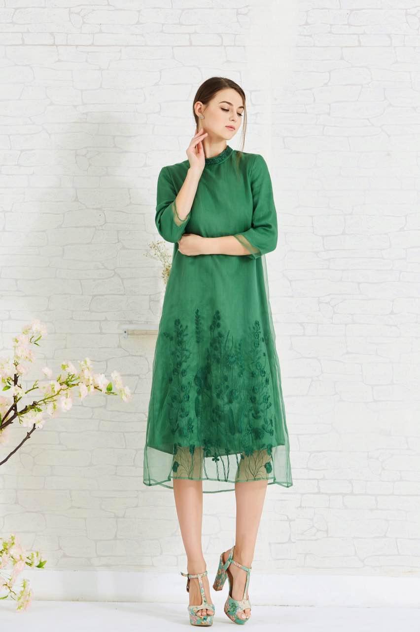 17年新款丝麻连衣裙翥品牌女装折扣 三标齐全 市场稀缺货品