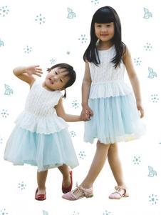 晶伶兔童装蓝色纱裙