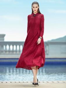GODIS玖迪诗女装红色蕾丝裙