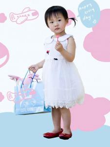 晶伶兔童装白色多层纱裙