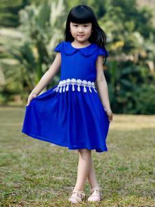 晶伶兔童装蓝色收腰女裙