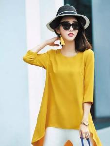 艾米春夏黄色中袖上衣