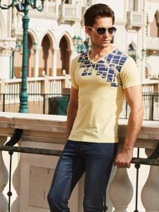 卡度尼男装新款时尚印花T恤