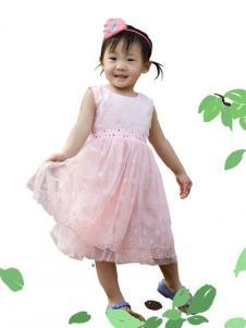 晶伶兔童装粉色无袖雪纺裙
