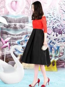 JFMS金粉名裳女装红黑拼接连衣裙