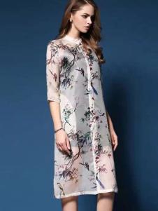 衣佰芬品牌折扣新款雪纺印花裙