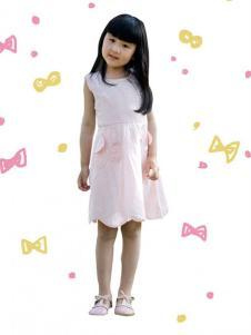 晶伶兔童装粉色连衣裙