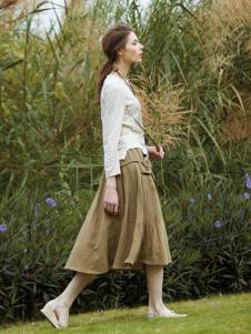 禾佃女装2017春夏新品灰褐色色半裙