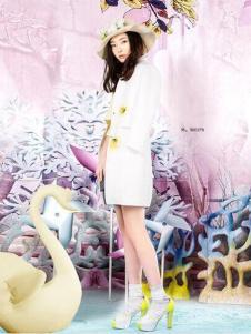 JFMS金粉名裳女装白色长外套
