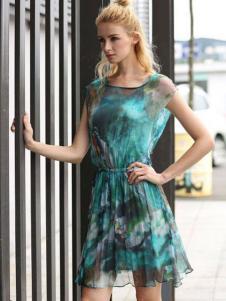 衣佰芬品牌折扣女装夏新款印花裙