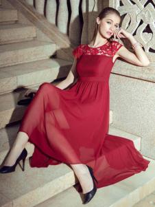GODIS玖迪诗女装红色蕾丝拼接长裙
