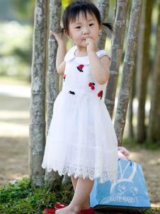 晶伶兔童装白色公主裙