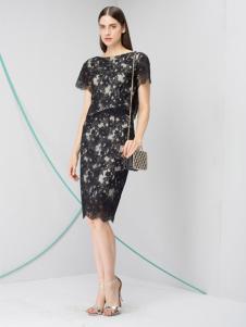 JZ玖姿女装黑色蕾丝裙