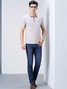 卡帝乐鳄鱼男装格纹T恤