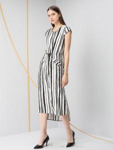 JZ玖姿女装条纹收腰长裙