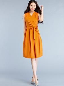 卡尔诺2017春夏新品橙黄色收腰连衣裙