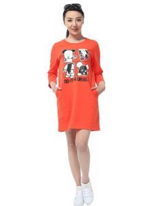 卡漫拉女装橙黄色T恤裙