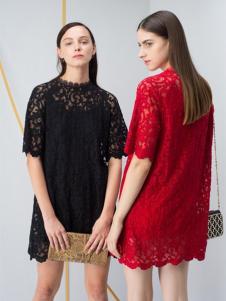JZ玖姿女装红色直筒蕾丝裙