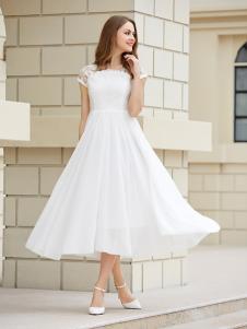 金蝶茜妮白色雪纺A字版连衣裙