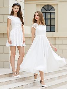 金蝶茜妮白色A字版收腰连衣裙