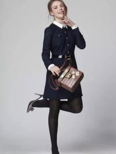 K·MAYA凯迪米拉女装藏青色收腰连衣裙