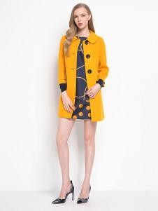 珂莱蒂尔女装姜黄色中长款修身外套