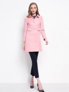 珂莱蒂尔女装粉色修身风衣