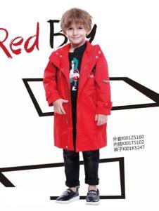 KHAKI卡琪屋童装男童红色长风衣