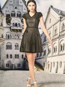 COCIINN卡琦依2017春夏新品黑色V领收腰裙