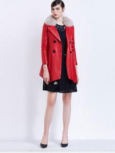 珂莱蒂尔女装红色毛领皮衣