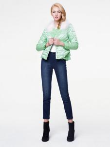 珂莱蒂尔女装绿色棉服