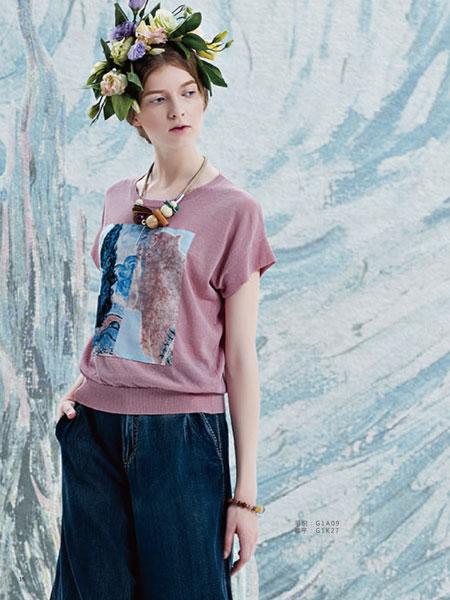 艺域时尚女装17夏款印花复古T恤