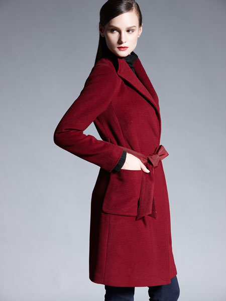 适时雅集新款红色双面呢大衣