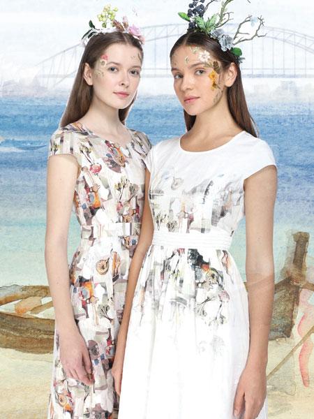 艺域17夏季新款棉麻印花连衣裙