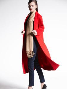 适时雅集新款红色大衣