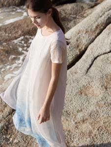 唯简尚女装17夏新款棉麻连衣裙