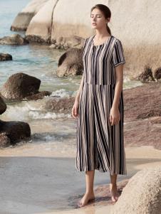 唯简尚棉麻文艺女装新款条纹连衣裙