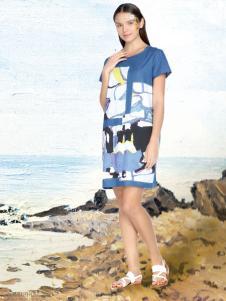 艺域棉麻文艺女装17夏款印花裙