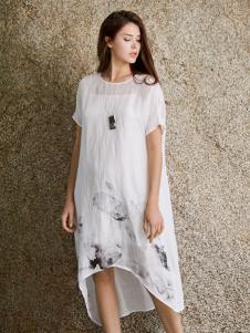 唯简尚新款白色文艺棉麻连衣裙