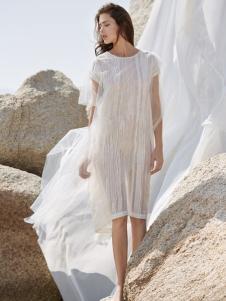 唯简尚17夏新款白色文艺棉麻连衣裙