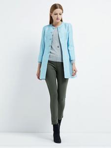 珂尼蒂思女装蓝色圆领外套