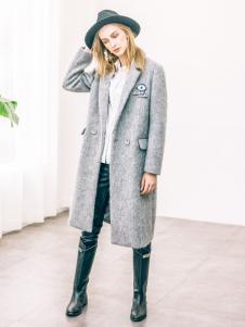 COOZIC珂妮卡女装灰色西装领大衣