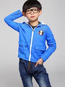 酷芭蒂童装蓝色拉链外套